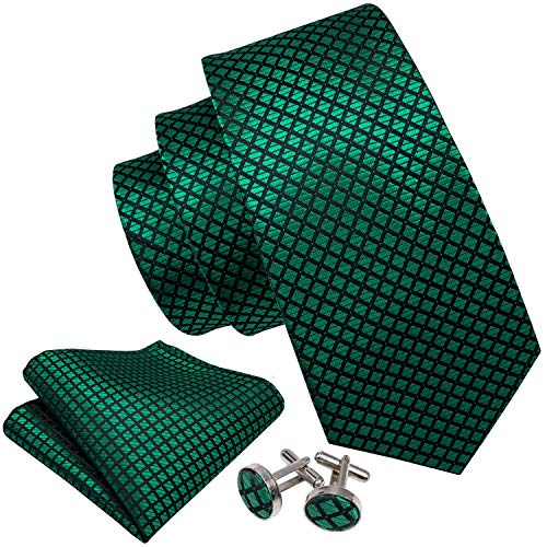 Barry.Wang Emerald Green Silk Tie Set Tartan Ties for Men