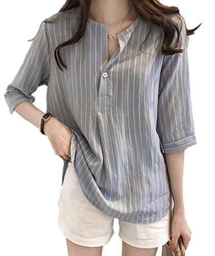 より良い少ない適応するIWFREE レディースシャツ カーディガン チェック柄 7分袖 Tシャツ 快適 ファッション 大きいサイズ トップス ホーム服 体型カバー 綿 レジャー 春夏秋 おしゃれ ボタン付き ブラウス ゆったり 通勤 レトロ 着痩せ ラウンドネック