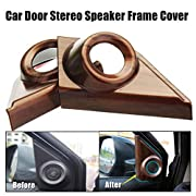 For Honda CRV CR-V 2017 2018 2019 2020 Peach Wood Grain Door Stereo Speaker Frame Cover One set(2Pcs)