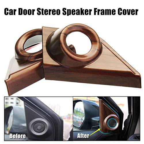 For Honda CRV CR-V 2017 2018 2019 Peach Wood Grain Door Stereo Speaker Frame Cover One set(2Pcs)