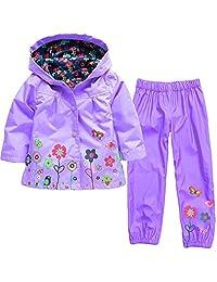 Geekercity Baby Girls Kids Waterproof Hooded Coat Jacket Outwear Raincoat Hoodies