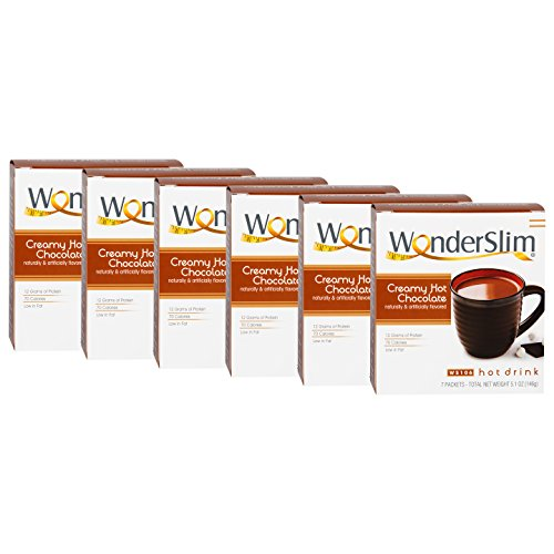 WonderSlim Low-Carb High Protein Diet/Weight Loss Instant Hot Drink Mix - Hot Chocolate (7 ct) 6 Box Value Pack (Save 10%) - Low Carb, Low Fat, Gluten Free