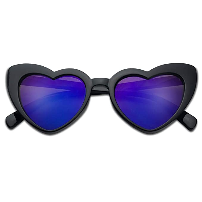 1926f0531b4a Oversized Lovestruck Round High Tip Heart Shaped Colored Mirror Lens  Sunglasses (Black Frame