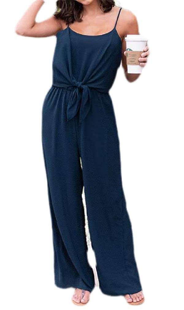 Lutratocro Womens Summer Wide Leg Spaghetti Strap Tie Knot Playsuit Jumpsuit