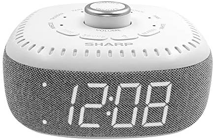 DreamCaster by means of Sharp Sound Machine Alarm Clock with Bluetooth Speaker, 6 High Fidelity Sleep Machine Soundtracks – White Noise Machine for Baby, Adults, Home and Office – White LED