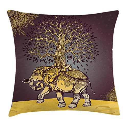 Asian Elephant Animals - Ambesonne Ethnic Throw Pillow Cushion Cover, Asian Elephant with Tree on Back Spiritual Animal Good Luck Symbol Art, Decorative Square Accent Pillow Case, 18 X 18 Inches, Dark Mauve Golden Yellow