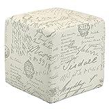 Cream Colored Storage Ottoman Cortesi Home CH-OT258670 Braque Cube Ottoman in Linen Script Print Fabric, Beige