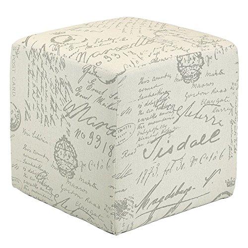 Cortesi Home CH-OT258670 Braque Cube Ottoman in Linen Script Print Fabric, Beige