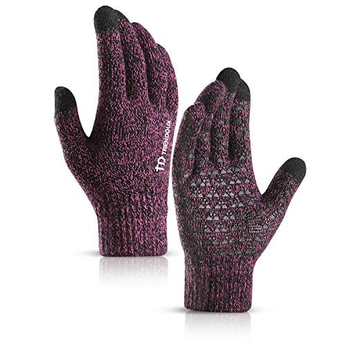 TRENDOUX Winter Gloves for Women, Knit Touch Screen Glove Texting Smartphone Driving - Anti-Slip - Elastic Cuff - Thermal Soft Wool Lining - Hands Warm in Cold Weather - Rose - M