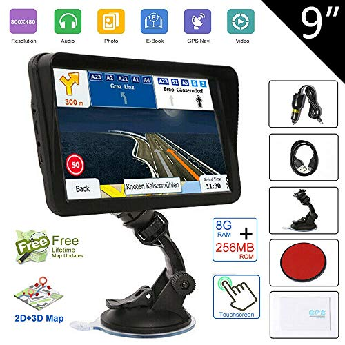 Navigation System for Cars 9 Inch with High Resolution Touch Screen Real Voice Direction Vehicle GPS Navigator, Trun-by-Turn Route Guidance, Speed Limit Reminder Lifetime North America Map Updates