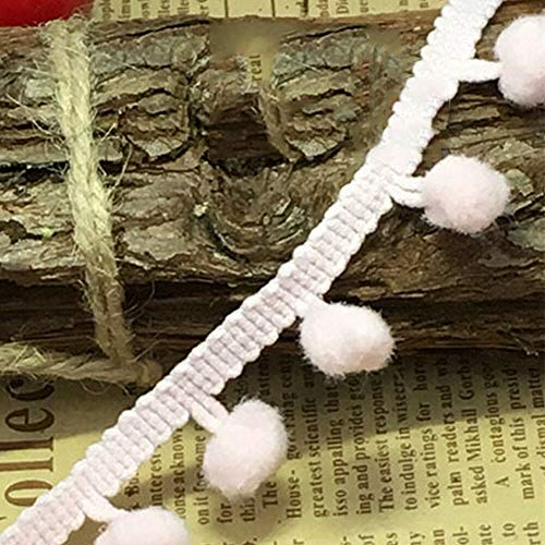 MOPOLIS 20 Yards Pom Pom Mini Bobble Ball Trim Fringe Ribbon Lace Sewing Accessory 1cm | Color - #10
