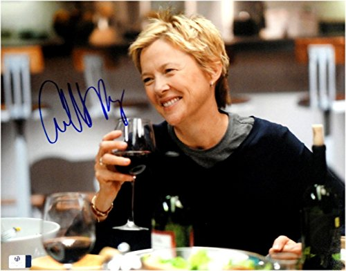 - Annette Bening Hand Signed Autographed 11x14 Photo Sexy Happy Wine GA 842799