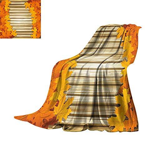 Fallen Sweatshirt Fleece - RamonDecorFH Fall,Fleece Blanket Fallen Leaves on Wooden Wall September Foliage Rustic Style Print Throws for Couch Bed Living Room W60 x L50 inch