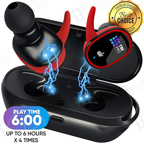 Upgraded True Wireless Earbuds - 36 Hours Total with Strong Bluetooth 5.0, IPX8 Waterproof TWS Stereo Headphones in-Ear Built-in Mic Headset Premium Sound with Deep Bass for Sport, Gym, - Earbud Headphones Pro