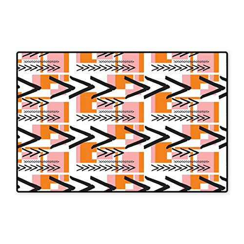 - Geometric Door Mat Small Rug Hand Drawn Artistic and Grunge Looking Arrows Rectangles and Squares Bath Mat for Bathroom Mat 16