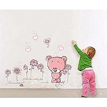 ufengke® Cute Pink Bears Love Heart Wall Decals, Children's Room Nursery Removable Wall Stickers Murals