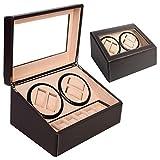 Gomangos Fashion Brown Watch Winder Storage Display Case Box 4+6...
