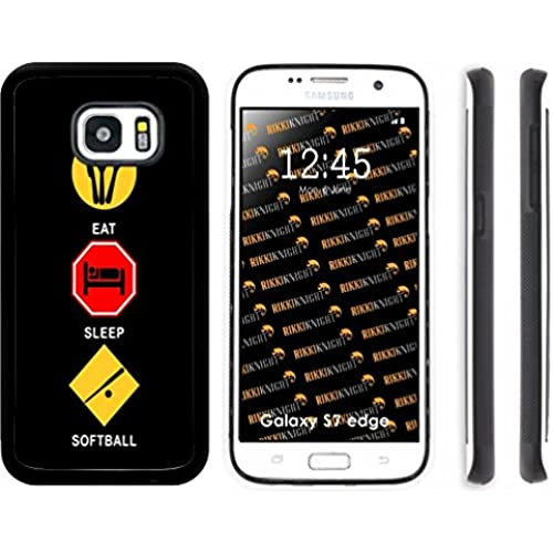 Rikki Knight Eat Sleep Softball Design Samsung Galaxy S7 Edge Case Cover (Black Rubber with front Bumper Protection) for Samsung Galaxy S7 Edge ONLY Sales