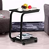 Yaheetech 2 Tier Black Wood Laptop Rolling Table Living Room Sofa Side Snack End Tables on Casters Wheels