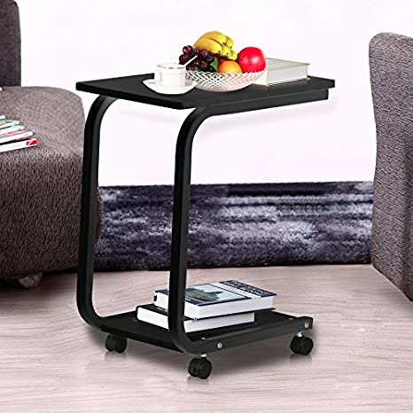 Amazon Yaheetech 2 Tier Black Sofa Side End Snack Table Tray Coffee Tables With Wheels Living Room Furniture Kitchen Dining