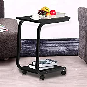 Yaheetech 2 tier black wood laptop rolling for Sofa table on wheels