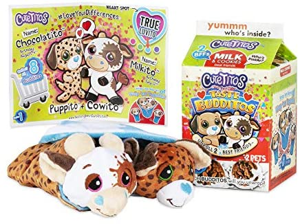 Basic Fun Cutetitos Taste Budditos Milk & Cookies - 2 Collectible Plush Mini Animals - Ages 3+ - Series 1 - Great Gift for Girls and Boys 5 inches