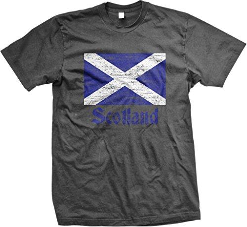 NOFO Clothing Co Flag of Scotland, Scottish Flag, Saltire Men's T-Shirt, XL Char Charcoal