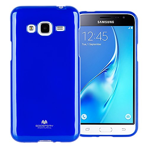 (GOOSPERY Marlang Marlang Galaxy J3 (2016) / J3 V/Amp Prime Case - Navy Blue, Free Screen Protector [Slim Fit] TPU Case [Flexible] Pearl Jelly [Protection] Bumper Cover, J32016-JEL/SP-NVY)