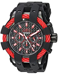 Invicta Mens Bolt Quartz Stainless Steel and Silicone Casual Watch, Color:Black (Model: 23869)