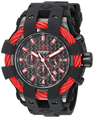 Invicta Men's 'Bolt' Quartz Stainless Steel and Silicone Casual Watch, Color:Black (Model: 23869) - Invicta Bezel