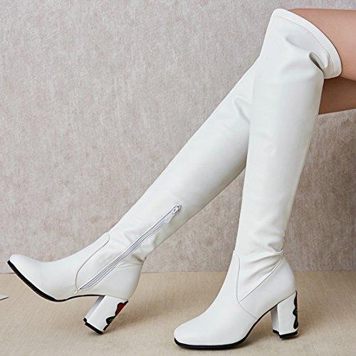 AIYOUMEI Damen Stretch Overknee Stiefel mit Blumen und 7cm Absatz Blockabsatz High Heels Langschaft Stiefel weiß(PU)