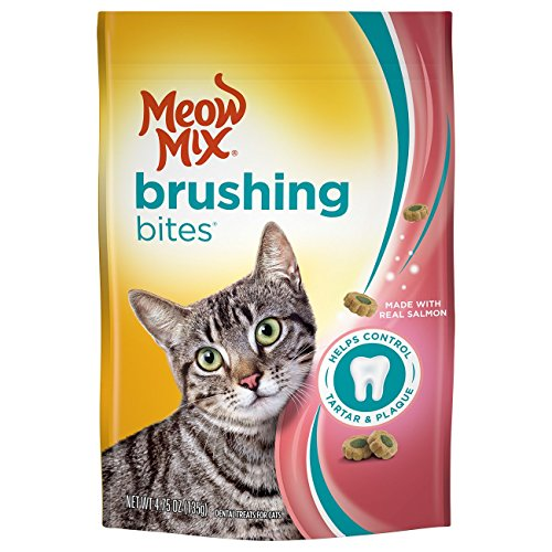 Meow Mix Brushing Bites Cat Dental Treats Made With Real Salmon, 4.75 Oz