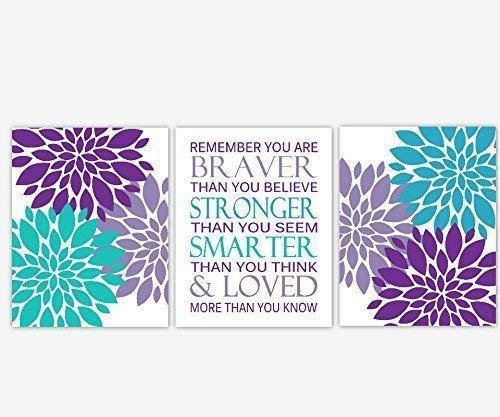 (Girl Nursery Wall Art Purple Lavender Teal Aqua Turquoise Flower Burst Dahlia Mums Remember You Are Braver Baby Nursery Decor SET OF 3 UNFRAMED PRINTS)