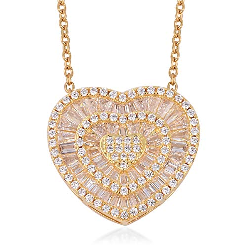 - Shop LC Delivering Joy ION Plated Baguette White Cubic Zirconia CZ Heart Pendant Necklace 20