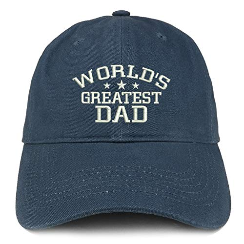Trendy Apparel Shop World's Greatest Dad Embroidered Soft Crown 100% Brushed Cotton Cap - Navy ()