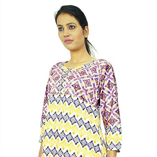 Étnica Kurta poliéster Impreso indio blanco ropa larga de la manga completa Kurti Multicolor