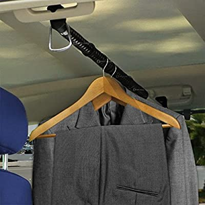Zento Deals Heavy Duty Expandable Clothes Bar Car Hanger Rod- Convenient Classic Black Combines with Strong Metal and Rubber Grips and Rings: Automotive