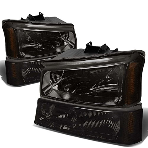 Chevy Silverado/Avalanche 4-PC Headlight Lamps With Amber Reflector (Smoke Lens) - 1 Gen