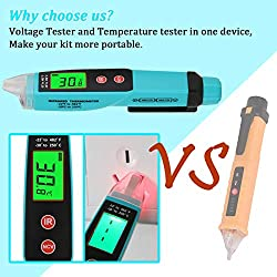 V·RESOURCING Electric Voltage Tester with Infrared Thermometer Function, Non-Contact 12V-1000V Voltage Detector Pen with Backlight LCD Display, LED Flashlight, Buzzer Alarm,Digital Temperature Tester