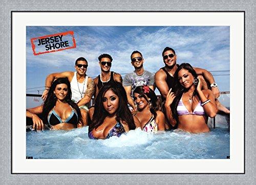 Jersey Shore - Cast Framed Art Print Wall Picture, Flat Silver Frame, 42 x 30 - Jersey Cast Shore