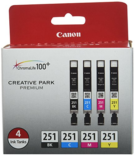 Canon CLI-251 BK/CMY 4PK (4-Color Pack), Black,Cyan, Magenta, Yellow, Compatible to MX922, iP8720, iX6820,MG7520,MG6620,MG5620,MG7120,MG6420,MG5520 and MG6320 ()