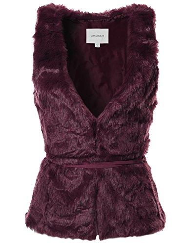 V-Neck Womens Fur Coat - 2