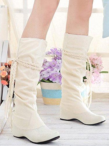Altura Botas Invierno De Con Minetom El Mate Mujer La Volante Fruncido Zapatos Beige La Superficie Aumento Borla qFEP5pPxw