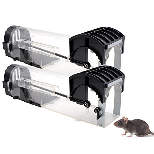 Humane Mouse Trap That Work -2 Pack - Reusable Smart No Kill No Touch Rodent Catcher Mice Rat Live Trap Catch and Release, Safe for Children and Pets, Trampa para Ratas y Ratones, 12.6'' Length ()