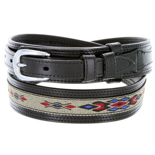 Mens Genuine Leather Ranger Belt with Southwestern Woven Diamond Pattern Accent (36 Black)