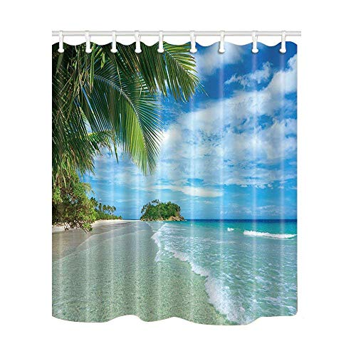 Afagahahs Tropical Island Decor Palm Tree by The Sea Shower Curtain in Bath Mildew Resistant Polyester Fabric Bathroom Fantastic Decorations Bath Curtains Hooks Included