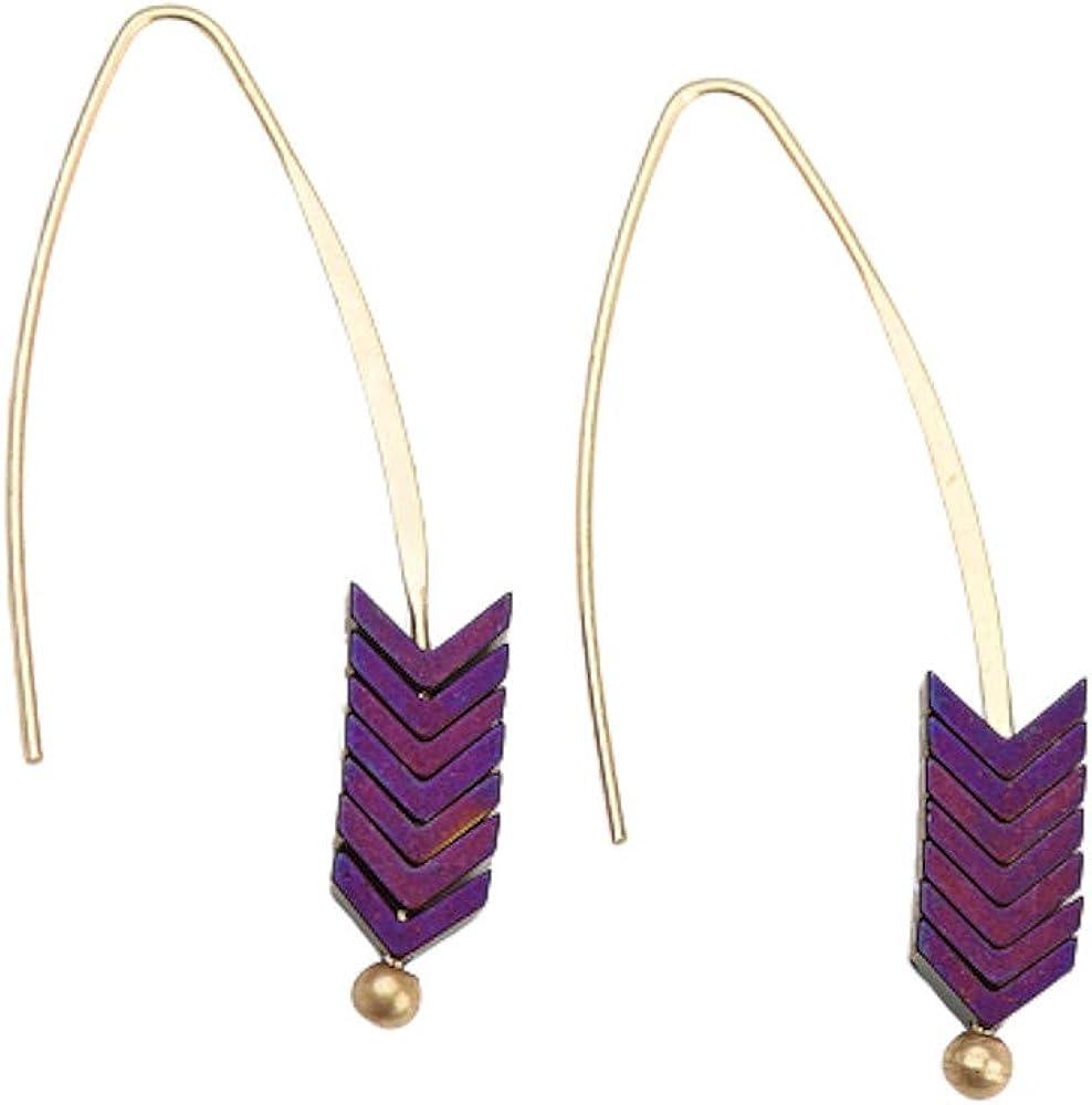 EXINOX Pendientes Colgantes Forma de Flecha | Piedra Natural y Dorado | Mujer |