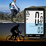 Leeko Bicycle Computer Wireless Speedometer, ID Coded Wireless Bicycle, Waterproof Big Font Data Display Auto Wake-up Motion Sensor Multi-Functions with LCD White Backlight, Black