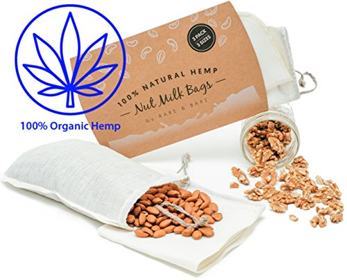 Rare & Bare NUT MILK BAG | ORGANIC HEMP 100% | 3 PACK + 3 SIZES | COLD BREW COFFEE, CANNABUTTER, GHEE FILTER, REUSABLE ALL PURPOSE FOOD STRAINER, MAKER, NATURAL - Hemp Nut Milk