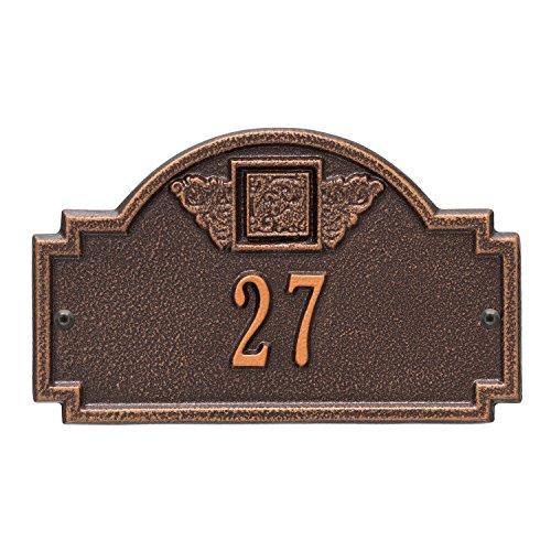 Whitehall Products Monogram Petite Wall Square Antique Copper 1-Line Address Plaque